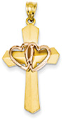 Two Hearts Cross Pendant, 14K Rose and Yellow Gold