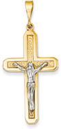 Celtic Crucifix Pendant, 14K Two-Tone Gold