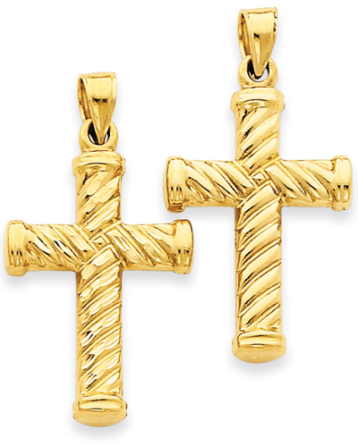 Two-Sided Swirl Cross Pendant in 14K Gold