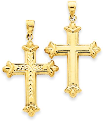 Reversible Cross Pendant, 14K Yellow Gold