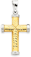 Reversible 14K Gold Cross Pendant with Rhodium Tips