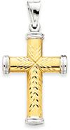 Reversible 14K Gold Cross Pendant with Rhodium Tips