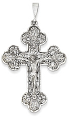 Floral and Vine Crucifix Pendant, 14K White Gold