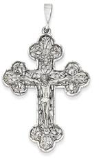 Floral and Vine Crucifix Pendant, 14K White Gold
