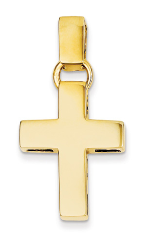 Plain Polished Latin Cross Necklace, 14K Yellow Gold