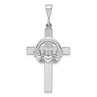 14K White Gold Claddagh Cross Pendant
