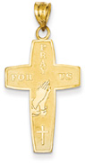Prayer Cross Pendant, 14K Yellow Gold