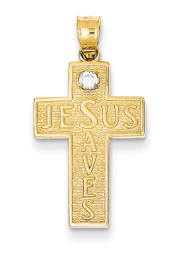 Jesus Saves CZ Cross Pendant