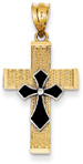 Black Enameled Evangelist Cross Pendant, 14K Two-Tone Gold