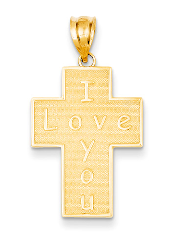 I Love You Cross Pendant, 14K Gold