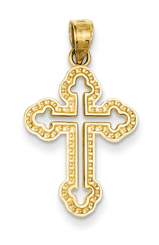 Budded Cross Pendant, 14K Yellow Gold