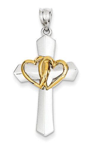Intertwined Hearts Cross Pendant, 14K Two-Tone Gold