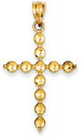 Bead Cross Pendant, 14K Gold