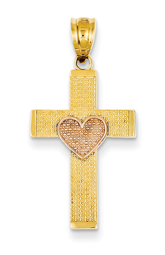 14K Gold Cross with Rose Gold Heart Pendant