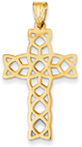 Cut-Out Celtic Cross Pendant, 14K Yellow Gold