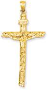 INRI Crucifix Pendant in 14K Yellow Gold