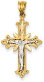 Diamond-Cut Crucifix Pendant, 14K Two-Tone Gold