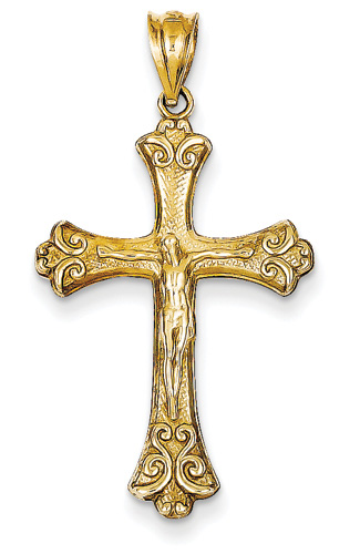 Antique-Style Crucifix Pendant, 14K Yellow Gold