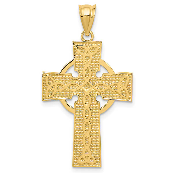 Irish Cross Pendant with Celtic Design, 14K Gold