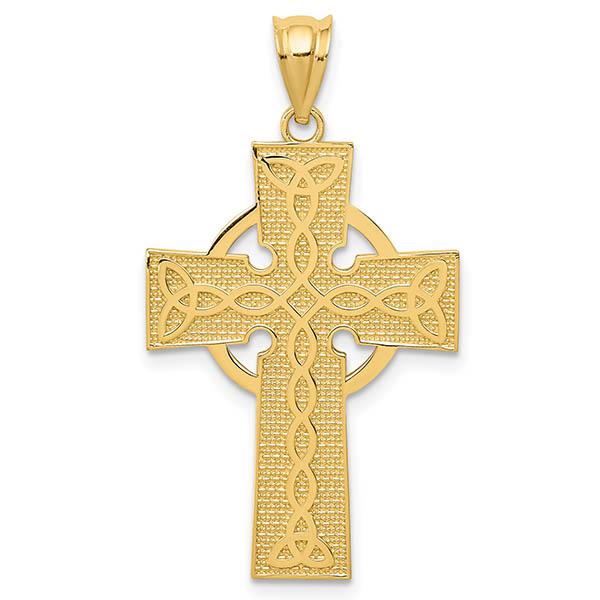 Irish Cross Pendant with Celtic Design, 14K Gold