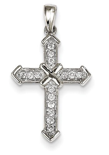 Diamond Passion Cross Necklace, 14K White Gold
