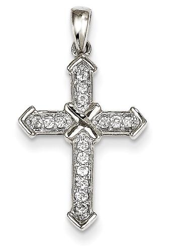 Diamond Passion Cross Necklace, 14K White Gold
