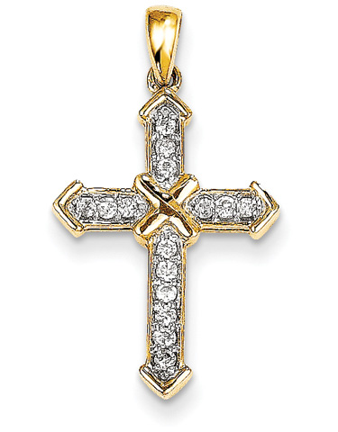 14K Yellow Gold Passion Diamond Cross Pendant