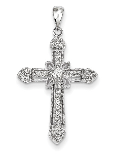 1/4 Carat Diamond Floral Cross Pendant, 14K White Gold