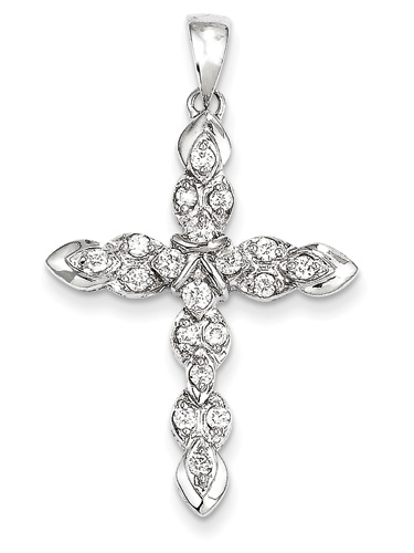 Heavenly Treasure 1/2 Carat Diamond Cross Pendant, 14K White Gold