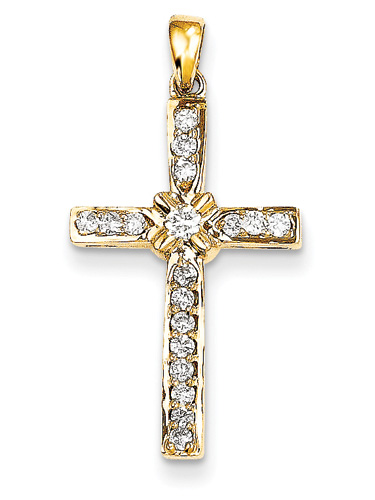 Diamond Flower Cross Pendant, 14K Yellow Gold