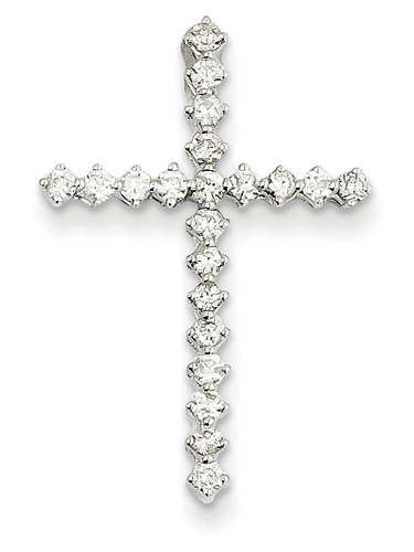0.41 Carat Diamond Cross Necklace, 14K White Gold