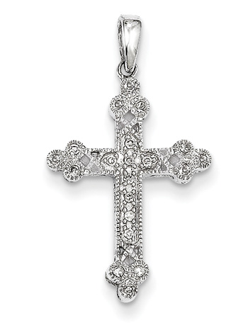 Filigree Diamond Cross Pendant, 14K White Gold