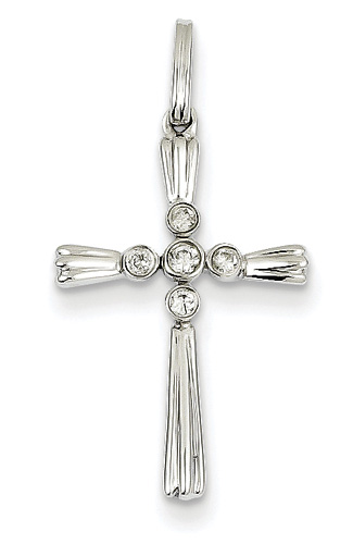 Diamond Evangelist Cross Necklace, 14K White Gold