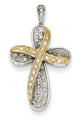 Joy of Thy Salvation Diamond Cross Necklace, 14K Two-Tone Gold