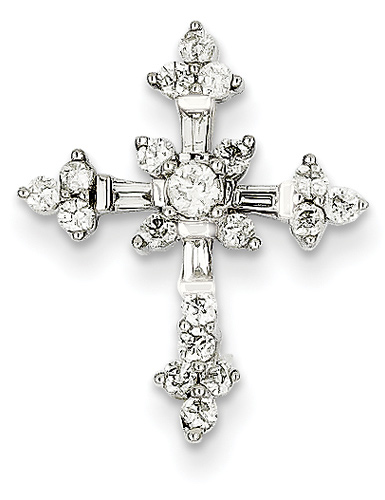 1/2 Carat Diamond Flower Passion Cross Necklace