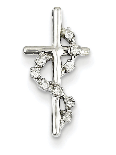 Diamond Methodist Cross Necklace, 14K White Gold