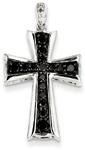 0.62 Carat Black Diamond Cross Necklace, 14K White Gold