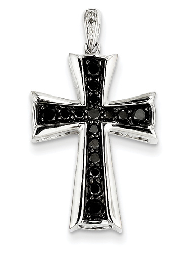0.62 Carat Black Diamond Cross Necklace, 14K White Gold