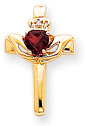 Garnet Claddagh Cross Necklace, 14K Yellow Gold