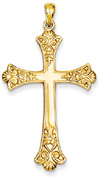 Fleur-de-Lis Cross Pendant, 14K Yellow Gold