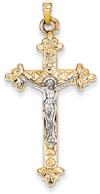 Heart and Flower Fleur-de-Lis Crucifix Pendant