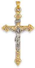 Fleur-de-Lis Heart Crucifix Pendant, 14K Two-Tone Gold