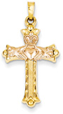 Claddagh Cross Pendant in 14K Yellow and Rose Gold