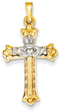 Claddagh Cross Necklace in 14K Two-Tone Gold