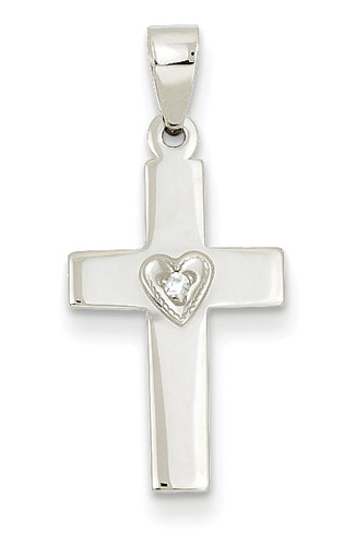 Cross Necklace with Diamond Solitaire Heart