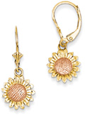 Sunflower Dangle Earrings in 14K Rose and Yellow Gold