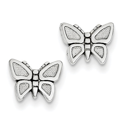 Butterfly Stud Earrings, 14K White Gold