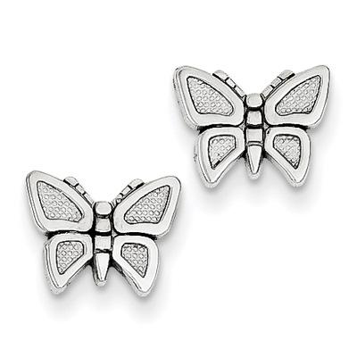 Butterfly Stud Earrings, 14K White Gold