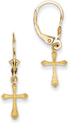 Small Cross Earrings with Scroll-Work Tips, 14K Gold