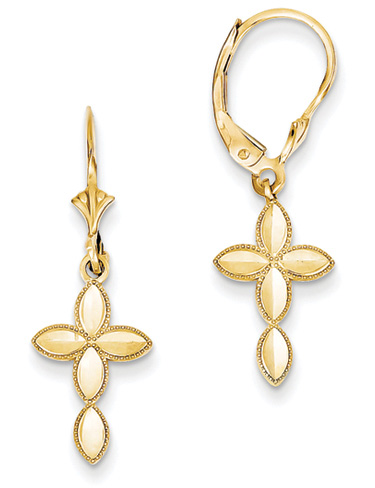 Marquise Cross Earrings, 14K Yellow Gold